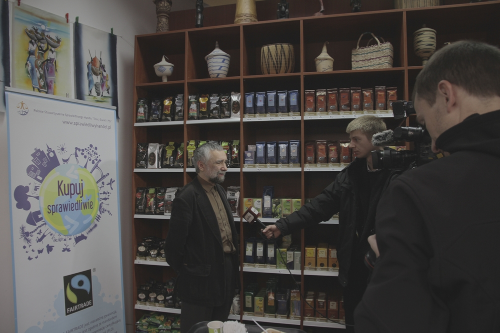 Photo from the opening of the first Fair Trade 100% shop in Poland